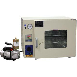 "Ambient to 480�F 16x14x14"" 1.9 Cu Ft Desktop Digital Vacuum Degassing Chamber Drying Sterilizing Oven 110V 50/60Hz 1500 watts with 2.5 CFM Vacuum Pump & Exhaust Filter Electrical Boxes"
