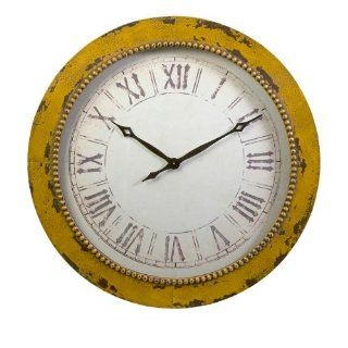 "36"" Distressed Yellow Roman Numeral Hammered Wall Clock"