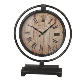 "20"" Distressed Antique Style Black Desk Clock with Roman Numeral Display   Shelf Clocks"