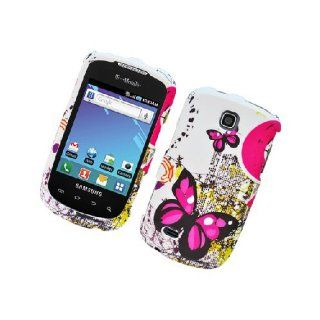 Samsung Dart T499 SGH T499 White Pink Butterfly Cover Case Cell Phones & Accessories
