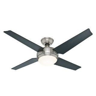 Hunter 59072 Sonic 52 Inch Brushed Nickel Ceiling Fan with Four Black/Maple Blades and Light Kit