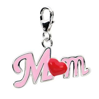 Amore La Vita™ Enamel Red Heart and Pink Mom Charm in Sterling