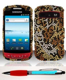 Accessory Factory(TM) Bundle (the item, 2in1 Stylus Point Pen) For Samsung Admire R720 (MetroPCS Cricket) Full Diamond Design Case Cover Protector   Cheetah FPD Stylish Full Diamond Bling Design Snap On Hard Case Protector Cover Faceplate Shell Cell Phone
