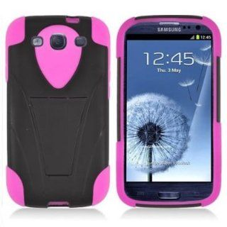 EMAXCITY Brand HYBRID Dual Heavy Duty Hard BLACK Case with Kickstand and Soft HOT PINK Silicone Skin Cover w/ Kickstand for F506 [WCF506] Cell Phones & Accessories