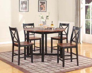 5PC Wood Drop Leaf Counter Height Pub Table with 4 Stools, Cherry and Black   Dining Tables