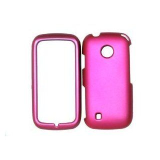 Straight Talk NET 10 LG 505c HOT PINK SOLID RUBBERIZED RUBBER COATED Design HARD Case Skin Cover Protector Accessory LG 505C LG505C LG 505 C Cell Phones & Accessories
