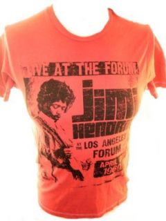 Jimi Hendrix Mens T Shirt   Live at the Forum Image on Red (XX Large) Clothing