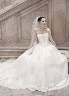 Strapless Organza Ball Gown Wedding Dress with Lace Appliques Ivory, 10
