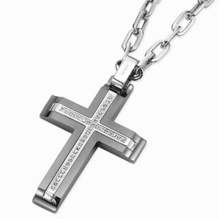 Triton Mens 1/5 T.W. Diamond Cross Pendant in Stainless Steel   Zales