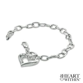 The Heart Within™ Diamond Accent Heart Charm Bracelet in Sterling