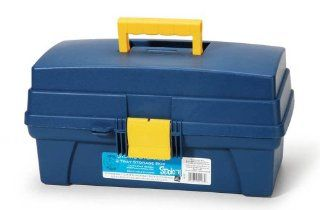 Darice 14 Inch 2 Tray Storage Box, Petroleum Blue
