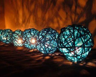 Hight Quality Blue Rattan Ball Patio Party String Lights Home Decor Wedding Dinning Room (20/set)   Lampshades