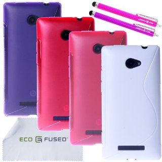 HTC Windows X Case Bundle including 4 TPU S Wave Covers (Purple, Hot Pink, Pink, White) / 2 Stylus Pens (Hot Pink/Purple) / ECO FUSED Microfiber Cleaning Cloth Cell Phones & Accessories