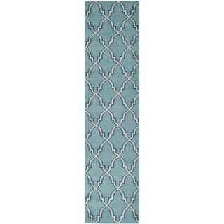 Safavieh Hand woven Moroccan Dhurrie Light Blue Wool Rug (26 X 10)