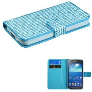 SAM I537 (Galaxy S4 Active) Light Blue Diamonds Book Style MyJacket Wallet (with Card Slot)(827) (with Package) Cell Phones & Accessories