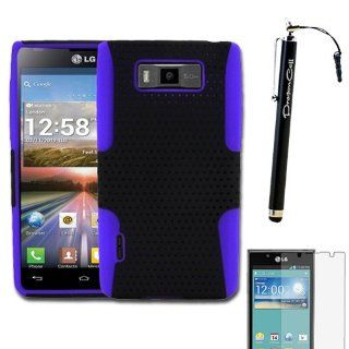 MINITURTLE, 2 in 1 Mesh Hybrid Dual Layer Hard Phone Case Cover, Stylus Pen, and Screen Protector, for Prepaid Android Smartphone LG Optimus Showtime L86C / L86G from Straight Talk and LG Splendor US730 from US Cellular (Black / Purple) Cell Phones &