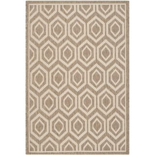 Safavieh Indoor/ Outdoor Courtyard Brown/ Bone Rug With 0.25 inch Pile (67 X 96)
