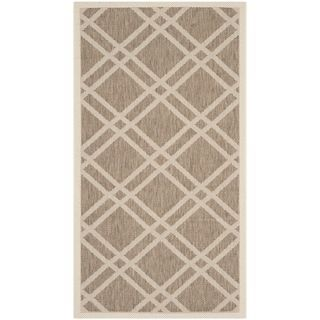 Safavieh Indoor/ Outdoor Courtyard Brown/ Bone Geometric pattern Rug (27 X 5)