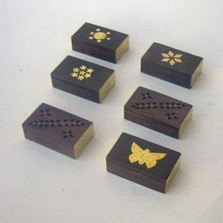 "ONE Tiny Rosewood Matchbox or Trinket Box   1 1/2"" x 2""   Design MAY VARY   Home Decor Accents"