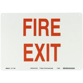 "Brady 116081 14"" Width x 10"" Height B 563 Plastic, Red on White Color Sustainable Safety Sign, Legend ""Fire Exit"" Industrial Warning Signs"