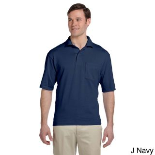 Jerzees Jerzees Mens Clean finished Pocket Polo Sport Jersey Navy Size XXL
