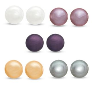 0mm Multi Colored Cultured Freshwater Pearl Earrings Set in