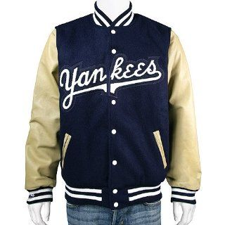 New York Yankees Authentic Wool & Leather Jacket by Mitchell & Ness  Sports Fan Outerwear Jackets  Sports & Outdoors
