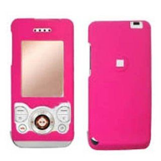 Hard Plastic Snap on Cover Fits Sony Ericsson W580i Solid Hot Pink (Rubberized) AT&T Cell Phones & Accessories