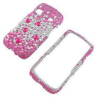 Rhinestones Protector Case for Samsung Replenish SPH M580, Hot Pink Silver Gems Full Diamond Cell Phones & Accessories
