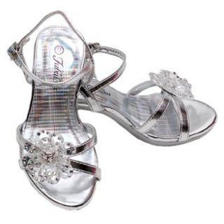 Toddler Girls Silver Rhinestone Flower Heel Shoes 9 Forever Link Shoes