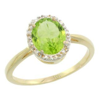 10k Yellow Gold Peridot Diamond Halo Ring 1.17 Carat 8X6 mm Oval Shape, 1/2 inch wide, sizes 5 10 Jewelry