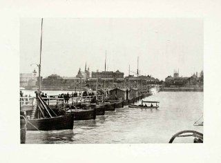 1899 Photogravure Cologne Germany Marine Boat Bridge Cityscape Historical Image   Original Photogravure   Prints