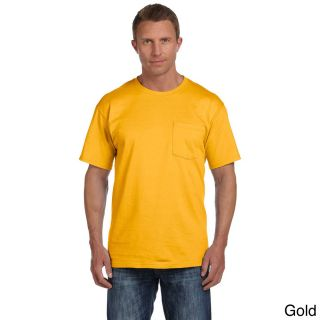 Fruit Of The Loom Fruit Of The Loom Mens Heavyweight Cotton Chest Pocket T shirt Gold Size XXL