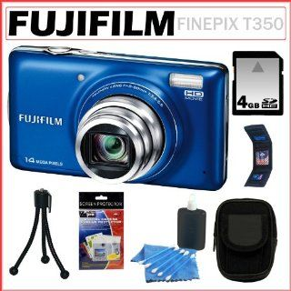 Fujifilm FinePix T350 14MP Digital Camera with 10x Optical Zoom and 3 inch LCD Screen in Blue + 4GB Deluxe Accessory Kit Computers & Accessories