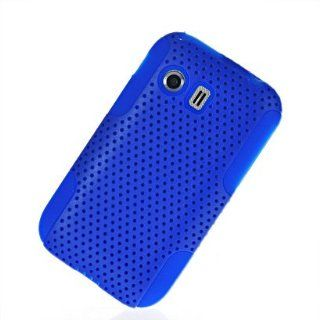 MOONCASE Hard Mesh Devise Silicone Skin Style Back Case Cover With Screen Protector for Samsung Galaxy Y S5360 Blue Electronics