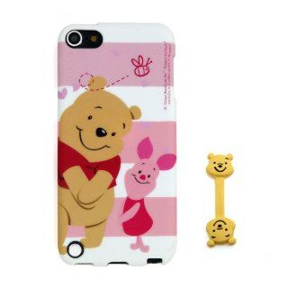 Euclid+   Pink Stripe Winnie the Pooh and Piglet Style TPU Soft Case Cover for Apple iPod Touch iTouch 5 5g 5th 5Generation with Winnie the Pooh Style Cable Tie  Players & Accessories