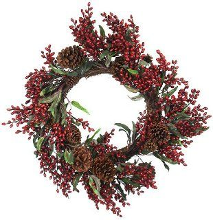 "Exclusive 24"" Eucalyptus Red Berry Christmas Wreath With Pine Cones"