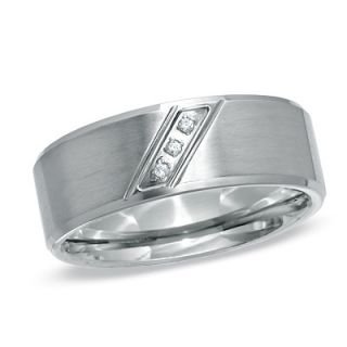 Mens Diamond Accent Three Stone Slanted Ring in Stainless Steel