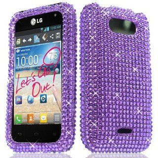 Purple Rhinestone Hard Case Bling Cover For LG Motion MS770 Cell Phones & Accessories