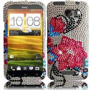 VMG 3 Item Combo For HTC One X (AT&T) Bling Design Hard Case Cover   Silver Blue Pink Flower Gem Bling Rhinestone Design Cell Phone Hard Protective Case + LCD Clear Screen Saver Protector + Premium Car Charger for HTC One X (AT&T) Cell Phone [by VA