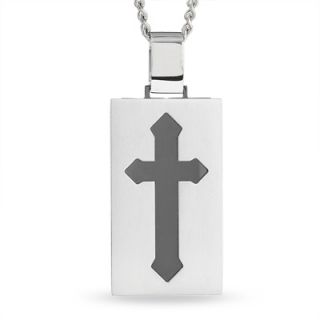 Mens Stainless Steel Dog Tag Pendant with Black Cross Inlay   Zales
