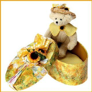 Ashton Drake Sunny Summer Hatbox Honeys Collectible Teddy Bear Plush Stuffed Animal Toy By Christy Firmage   With Sunflower Hatbox Toys & Games
