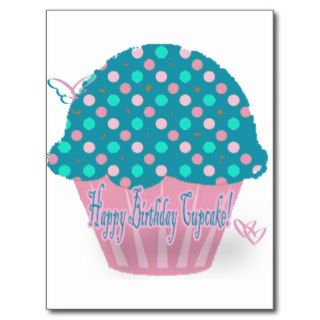 Blue Cupcake Happy Birthday Post Card