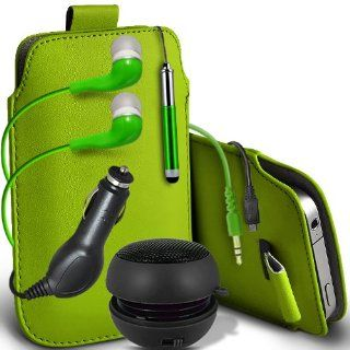 Fone Case Alcatel One Touch Fierce Protective PU Leather Pull Cord Slip In Pouch Quick Release Case With Mini Capacitive Retractabletylus Pen, 3.5mm In Ear Earphones, Mini Rechargeable Capsule Speaker, 12v Micro USB In Car Charger (Green) Cell Phones &