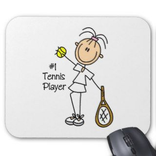Stick Figure Number One Tennis Player Mousepad