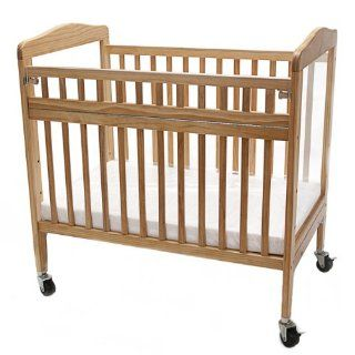 LA Baby Commercial Grade Swing Gate Window Crib, Natural  Portable Cribs  Baby