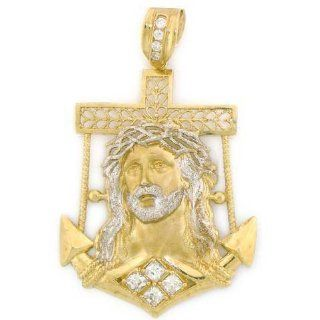 14K Yellow Gold Jesus Cross Anchor Large Charm Pendant Jewelry