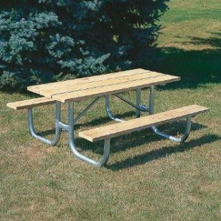 Extra Heavy Duty Wooden Picnic Table   8'L   Galvanized Frame   Galvanized Frame