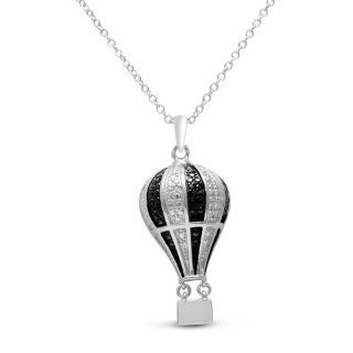 Black and White Diamond Hot Air Balloon Necklace Crafted In Solid Sterling Silver, 18 Inches Jewelry
