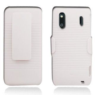 Aimo Wireless HTCKINGDOMPCBEC008 Shell Holster Combo Protective Case for HTC EVO Design 4G/Hero S with Kickstand Belt Clip and Holster   Retail Packaging   White Cell Phones & Accessories